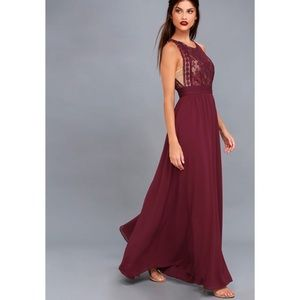 Lulu's Forever & Always burgundy lace maxi dress